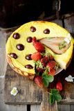 Cheese cake  on wooden table. Selective focus Stock Image