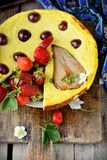 Cheese cake  on wooden table. Selective focus Royalty Free Stock Photography