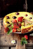 Cheese cake  on wooden table. Selective focus Royalty Free Stock Photos