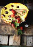 Cheese cake  on wooden table. Selective focus Stock Photos