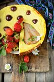Cheese cake  on wooden table. Selective focus Royalty Free Stock Photo