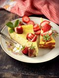 Cheese cake  on wooden table. Selective focus Stock Photography
