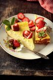 Cheese cake  on wooden table. Selective focus Stock Images