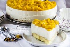 Cheese cake with yogurt and peaches Royalty Free Stock Photo