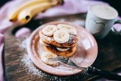Cheese cakes with banana Stock Photos