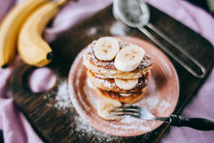 Cheese cakes with banana Royalty Free Stock Image