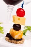Cheese canape Stock Image
