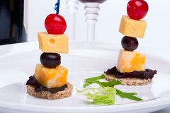 Cheese canapes Stock Photography