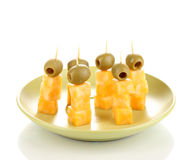 Cheese canapes on plate Royalty Free Stock Images