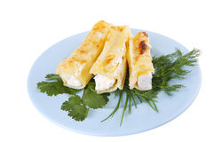 Cheese cannelloni on blue plate Royalty Free Stock Image