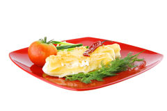 Cheese cannelloni served Royalty Free Stock Images
