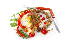 Cheese cannelloni on white plate Royalty Free Stock Images