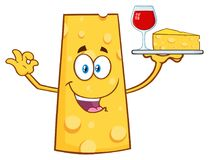Cheese Cartoon Mascot Character Holding Up A Wine Glass And Wedge Of Yellow Cheese Royalty Free Stock Photo