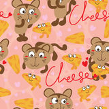 Cheese cat cartoon seamless pattern Stock Photography