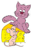 Cheese, cat and mouse (vector Stock Photography