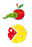 Cheese caterpillar chart apple Royalty Free Stock Photography