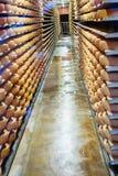 Cheese on Cellar racks Royalty Free Stock Image