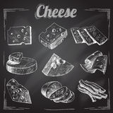 Cheese chalkboard collection Royalty Free Stock Photo