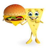 Cheese Character with burger Royalty Free Stock Photos