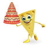 Cheese Character with cake Royalty Free Stock Photo