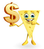 Cheese Character with dollar sign Stock Photography