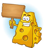 Cheese Character Holding a Sign. A big hefty chunk of cheese holding a wooden sign with a big smile on his face Stock Photography