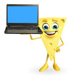 Cheese Character with laptop Royalty Free Stock Photo