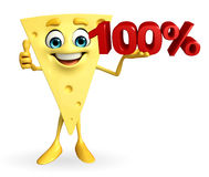 Cheese Character with percent sign Royalty Free Stock Image