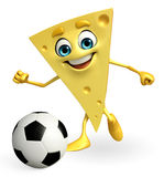 Cheese Character is playing football Royalty Free Stock Photo