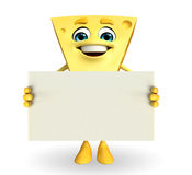 Cheese Character with sign Royalty Free Stock Photography