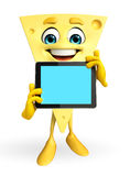 Cheese Character with tab Royalty Free Stock Photos