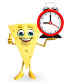 Cheese Character with table clock Royalty Free Stock Photo