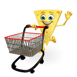 Cheese Character with trolley Stock Images
