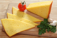 Cheese, cherry tomato, garlic and parsley. Stock Photography