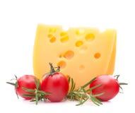 Cheese and cherry tomato Stock Photos