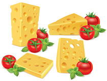 Cheese, cherry tomatoes, basil Royalty Free Stock Images