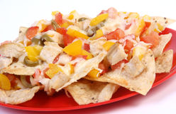 Cheese and chicken nachos Royalty Free Stock Photo