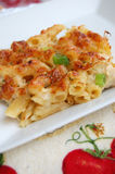 Cheese and Chicken Pasta Bake Stock Photo