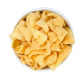 Cheese chips isolated on white background royalty free stock photography