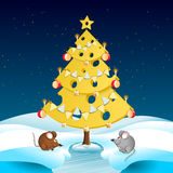 Cheese Christmas Tree With Two Mice Stock Photo