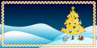 Cheese Christmas Tree With Two Mice Stock Image