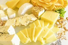 Cheese Collection and Cashew Nuts Royalty Free Stock Photography