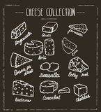 Cheese collection. Hand drawn  type of cheese on chalk boa. Rd Stock Photo