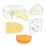Cheese collection, objects  isolated on white background.  Hand Royalty Free Stock Image