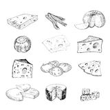 Cheese collection. Set of hand drawn graphic illustration Stock Image
