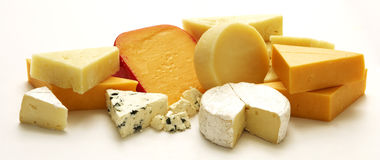 Cheese Collection. A collection a various types of cheese on an isolated white studio stock image