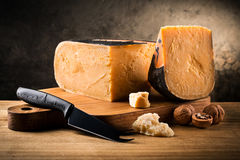 Cheese composition, Food background. Old Amsterdam cheese composition, Food background Stock Images