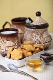 Cheese cookies with honey and milk. As a countryside breakfast Royalty Free Stock Photos