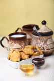 Cheese cookies with honey and milk. As a countryside breakfast Royalty Free Stock Images