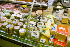 Cheese on counter in European market Royalty Free Stock Photos
